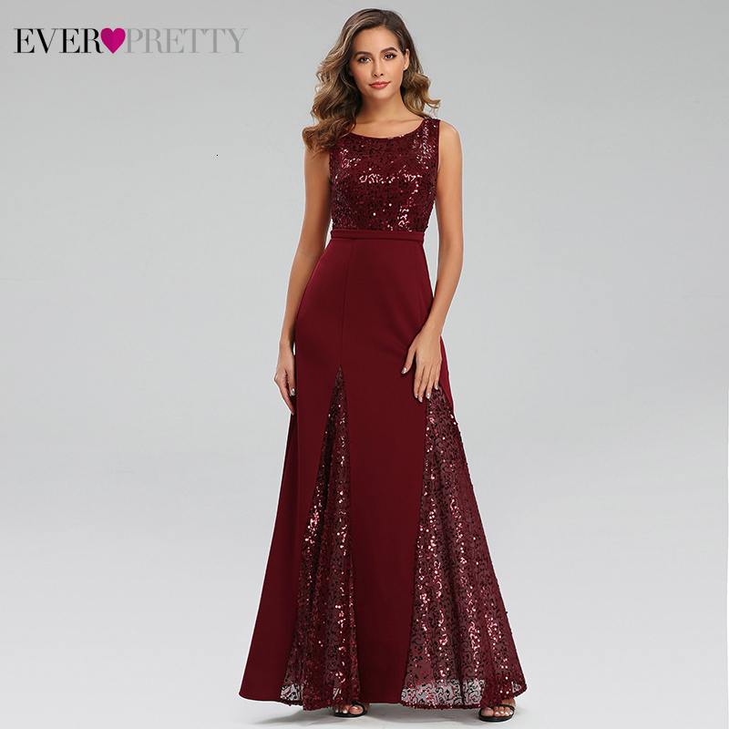 Party-Gowns Evening-Dresses Sequined Sparkle Ever Pretty A-Line Burgundy Sexy Long Elegantes title=