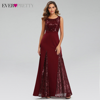 Sparkle Burgundy Evening Dresses Ever Pretty EP07401BD A Line O Neck Sequined Darped Sexy Long Party Gowns Vestidos Elegantes