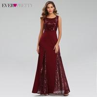 Sparkle Burgundy Evening Dresses Ever Pretty EP07401BD A Line O Neck Sequined Darped Sexy Long Party Gowns Vestidos Elegantes