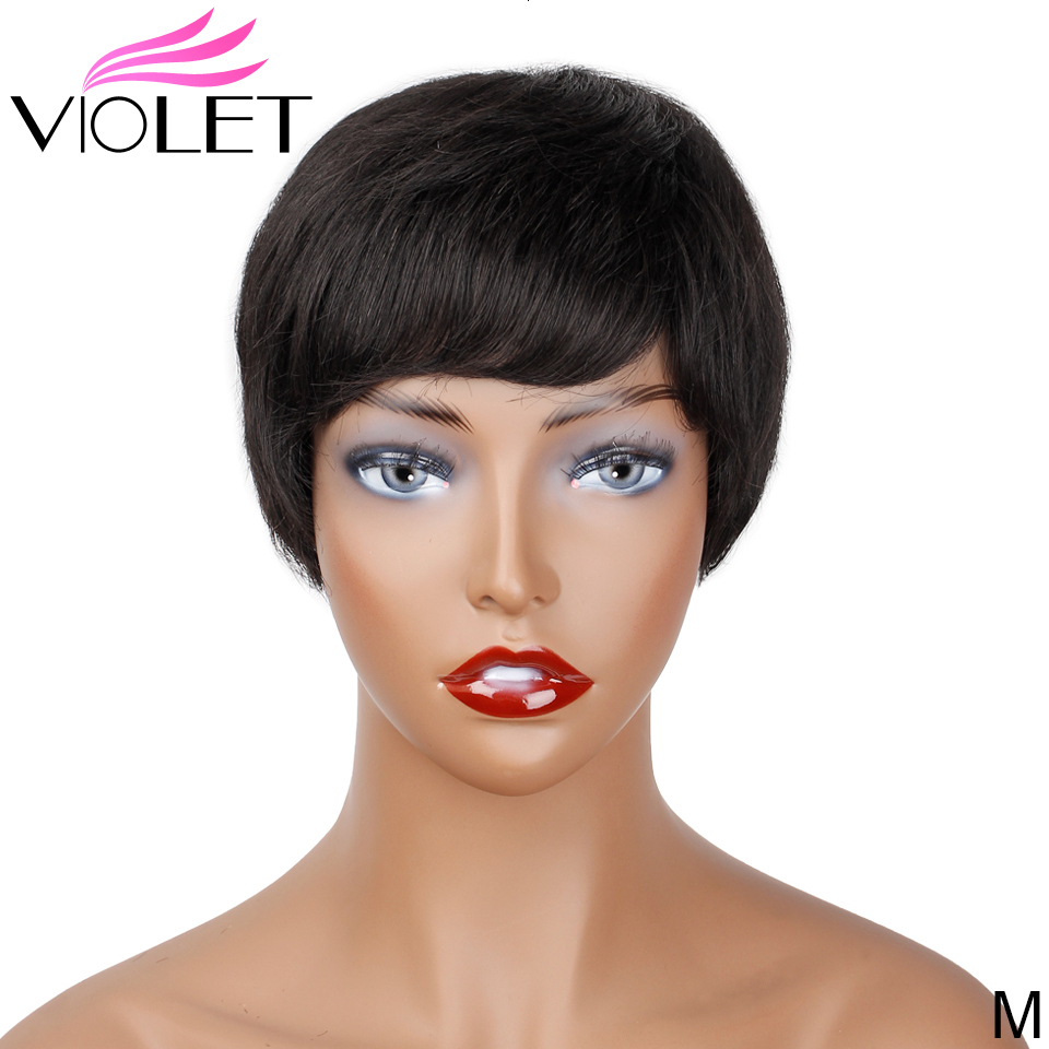 VIOLET Brazilian Straight Medium Ratio 4 Inch Non-Remy Short Human Wig For Black Women 100% Short  Human Wig Natural Color