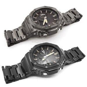 Камуфляжный ремешок для часов из нержавеющей стали и ободок для GA2100 GA-2100-1A1 GA-2100-4A металлический ремень стальной ремень с инструментами