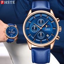 цены PHSTE Mens Watches Quartz Analog Chronograph Moon Phase Date Waterproof Brand Luxury Calfskin Leather Band Male Wrist Watch Blue