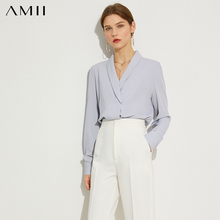 AMII Minimalism Autumn Olstyle Chiffon Solid Women Blouse Tops Causal Vneck Full Sleeve Loose Female Blouse 12020317