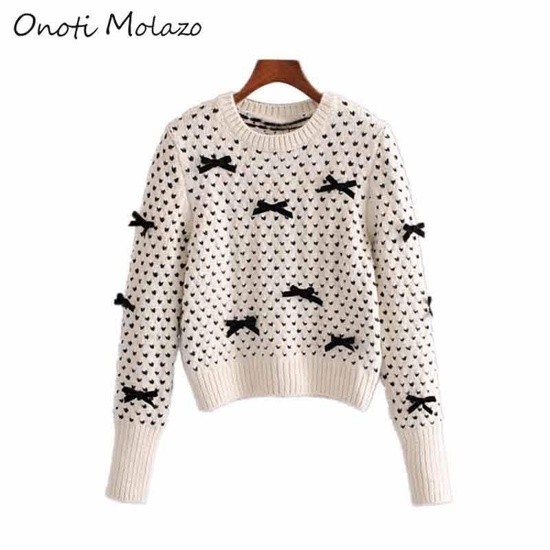 Onoti molazo ニットプルオーバーセーター女性カジュアル冬のハート柄弓の女性のセータープルオーバーファム 2019 新ファッション