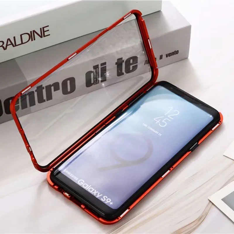 360 Magnetic Case untuk Samsung Galaxy Note 10 Pro S10 5G S20 Plus Coque A51 A71 A90 A50 a70 A80 Logam Bumper S9 Glass Case
