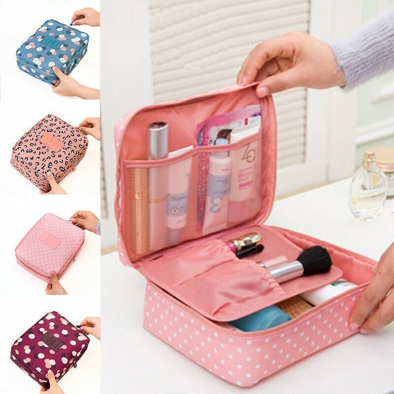 Women Travel Cosmetic Makeup Bag Fashion Rushed Floral Nylon Zipper New Women Makeup Bag Cosmetic Toiletry Case Hanging Pouch