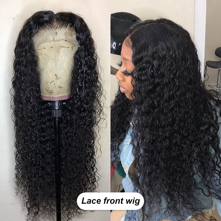 Kinky Curly Glueless Lace Front Human Hair Wigs Brazilian Afro Natural Short Long Remy Hair Wig For Black Women Girl Pre Plucked