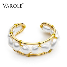 VAROLE Anillo de perlas naturales para mujer, anillos de Color dorado hechos a mano, accesorios, joyería para dedo, regalos