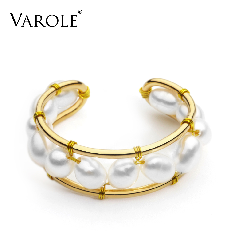VAROLE Natural Pearls Ring Handmade Gold Color Rings For Women Accessories Finger Fashion Jewelry GiftsRings   -
