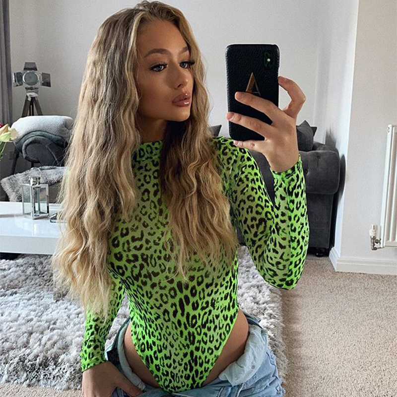 OMSJ Fashion Autumn Neon Green Lady Long Sleeve Leopard Print Bodysuit High Cut Sexy Playsuit Turtleneck Skinny One Piece Romper