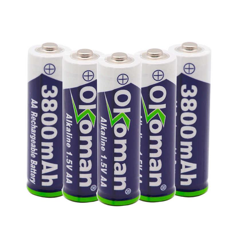 Nueva batería recargable AA 3800mah 1,5 V nueva batería recargable alcalina para juguete de luz led mp3 envío gratis con cargador