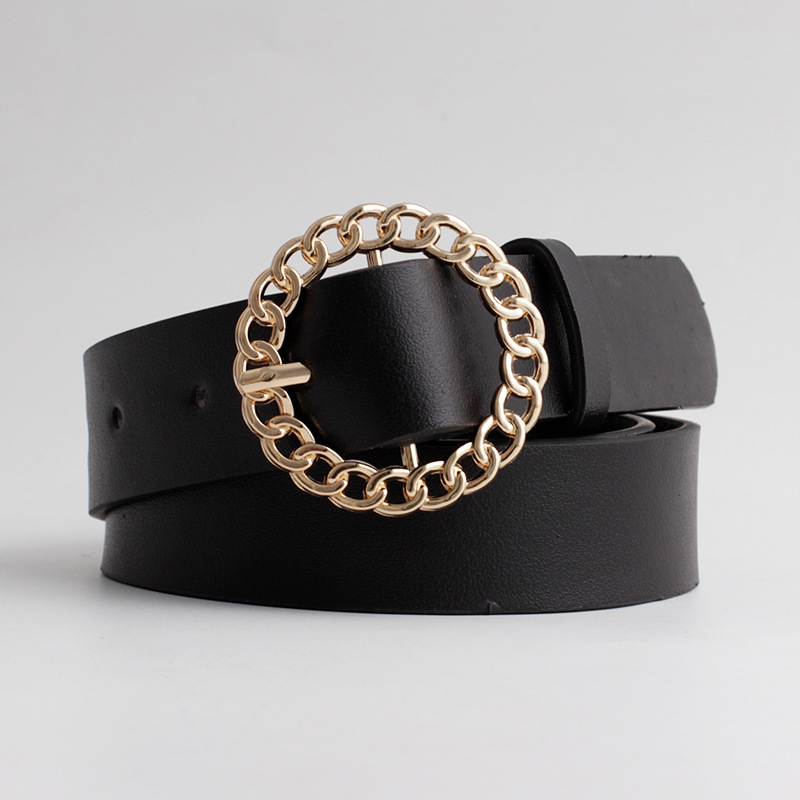 2020 New Designer Women's Hollow Out O Ring Round Buckle Belt Female Adjustable Black White Brown Leather Waist Belts For Women