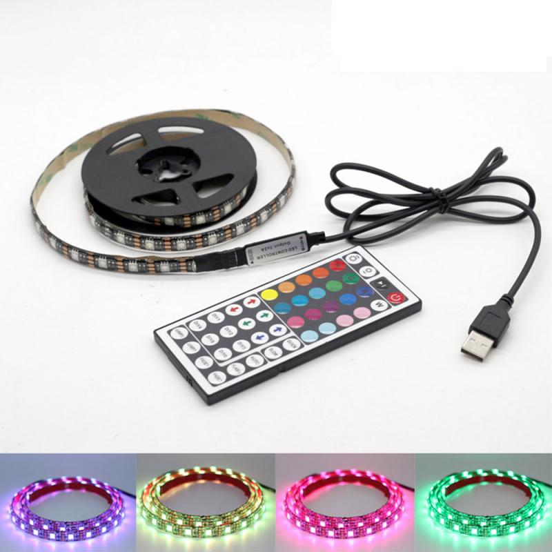 NEW 1-3M LED TV Light <font><b>5050</b></font> <font><b>SMD</b></font> <font><b>RGB</b></font> LED Strip Light For Tv HDTV Neon Light Backlight Lamp With 24/17/44 Key Remote Control image