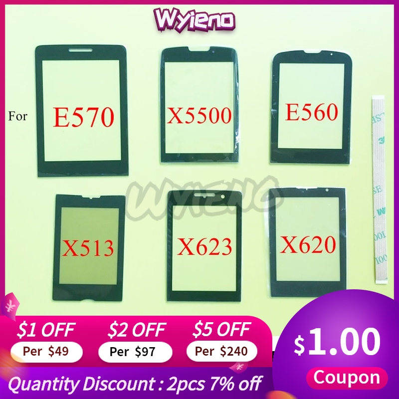 Wyieno Black Glass Screen For Philips Xenium E570 E571 / X5500 / E560 / X623 / X620 / X513 Glass Lens Outer Front Panel +track