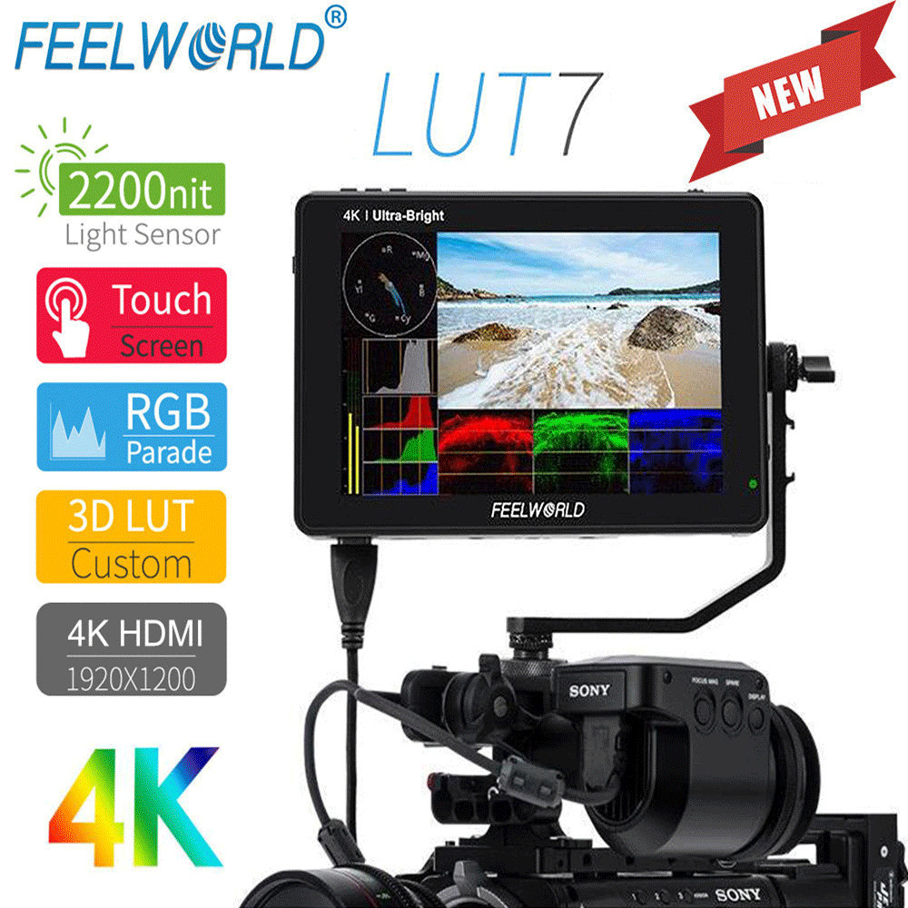FEELWORLD LUT7 7 inch 2200nits 3D LUT Touch Screen Field Monitor 4K HDMI Full HD 1920x1200 IPS Monitor for DSLR Cameras Video