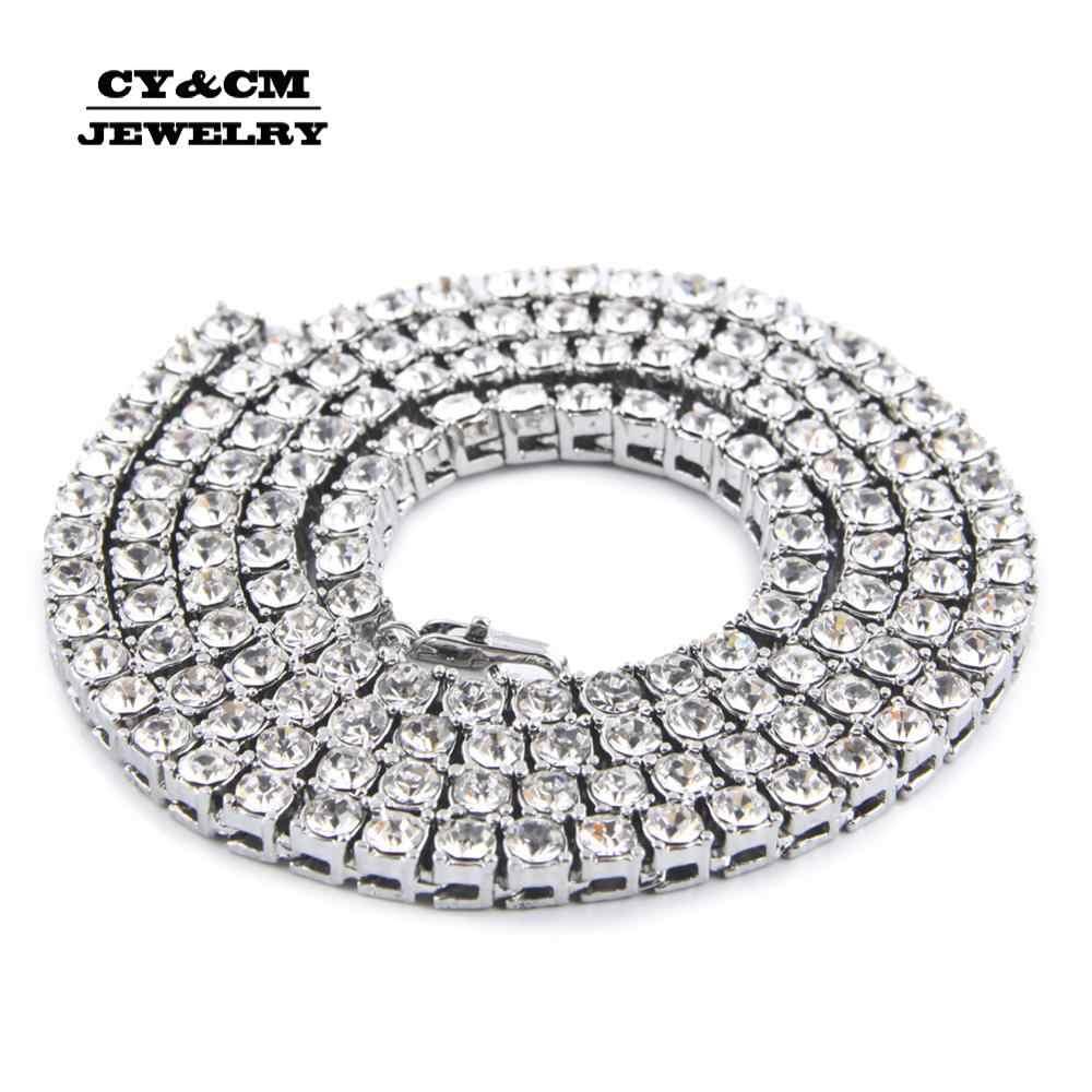 Collar de Hip hop para hombre helado 1 fila 5mm strass Bling Crystal tenis cadenas collar de mujer cadena 18 pulgadas-30 pulgadas Envío Directo