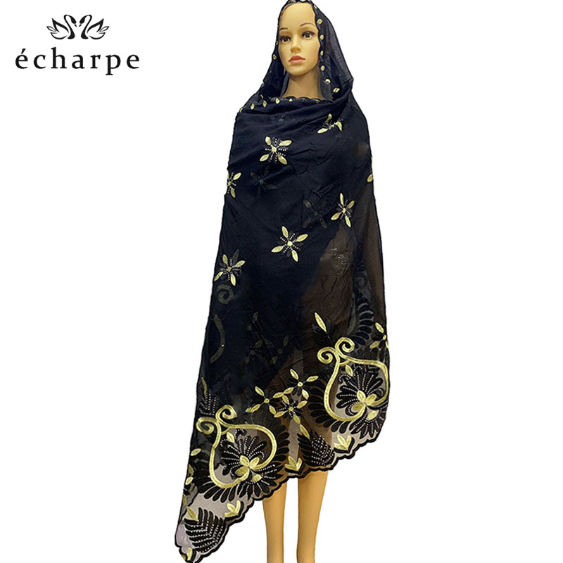New African Women Scarves Shawls, Hinduism Women's Scarf, Cotton Embroidery Fashion Design  Hijab Scarf EC184
