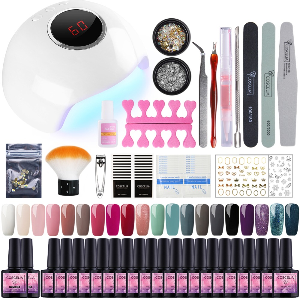 Nail Set 24W UV LED Lamp For Manicure 20pcs Gel Nail Polish Set Kit Soak Off Gel Varnish For Nail Art Set Dryer Machine Tools