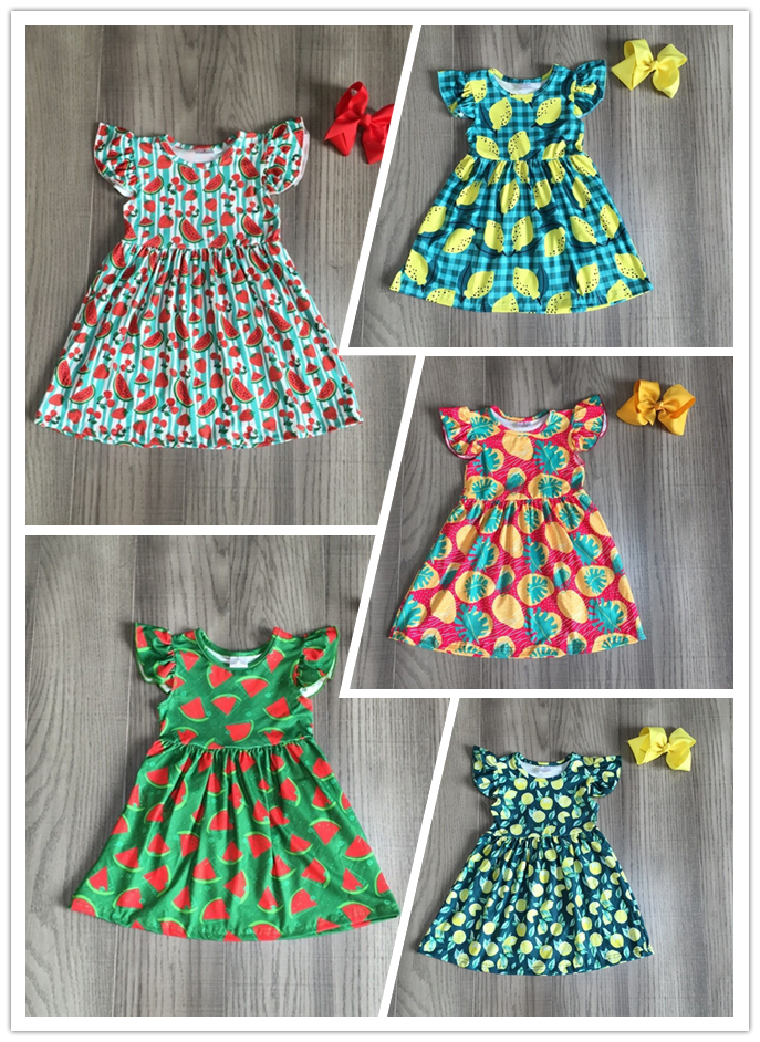 Baby Girls Summer Milk Silk Dress Girls Fruit Dress With Bow Girls Watermelon Lemon Pear Strawberry Print Dress