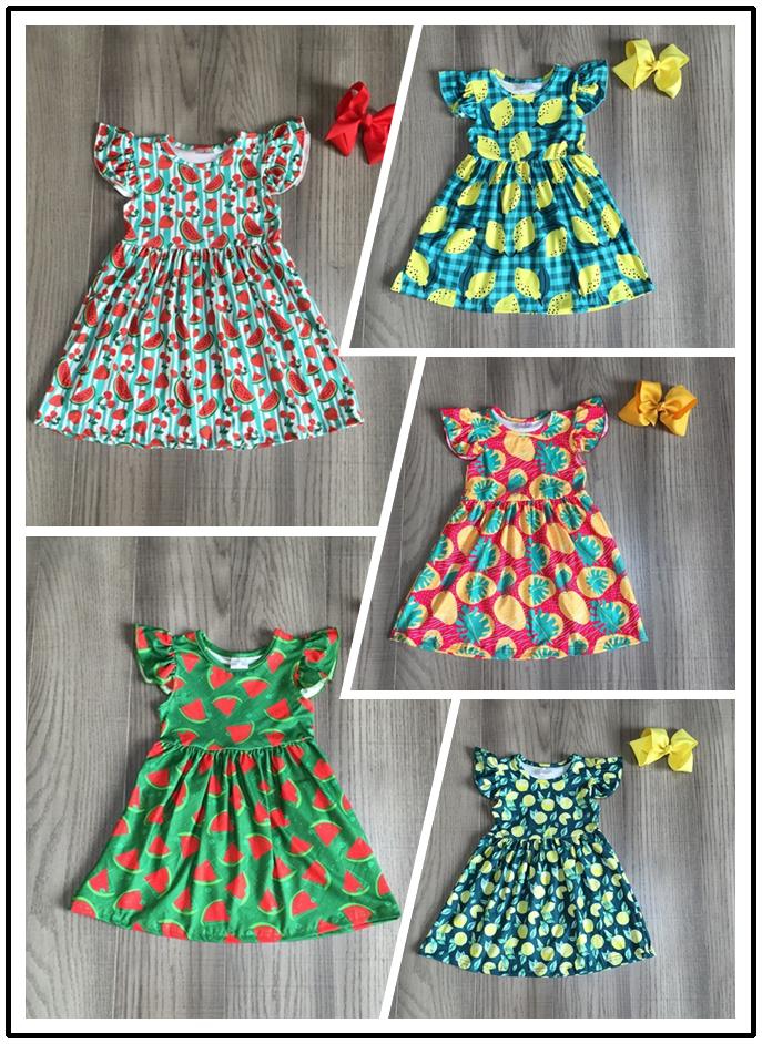 Baby Girls Summer Milk Silk Dress Girls Fruit Dress With Bow Girls Watermelon Lemon Pear Strawberry Print Dress