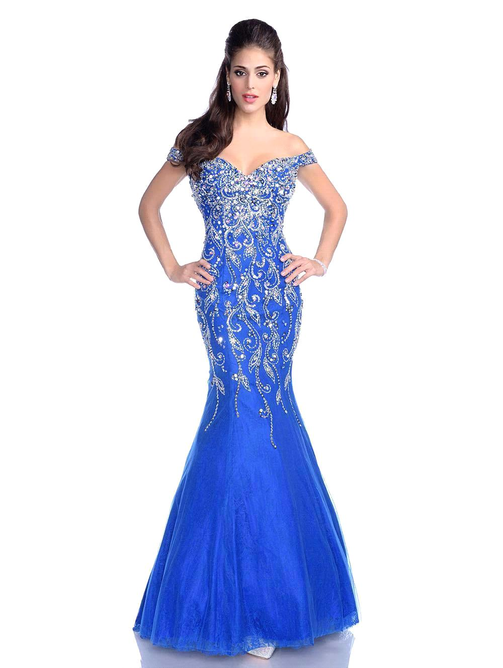 Robe De Soiree New Arrival 2018 Luxurious Crystal Beaded Royal Blue Mermaid Formal Prom Evening Gown Mother Of The Bride Dresses