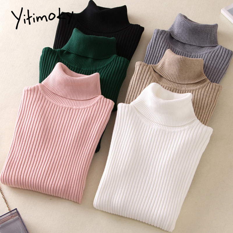Turtleneck Sweater Women On Sale 2019 Autumn Winter Women Knitted Casual Soft Jumper Fashion Slim Femme Elasticity Pullovers New