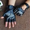 1 Pair Halloween Black Pu Leather Fingerless Gloves Female Half Finger Driving Women Fashion Punk Gloves Dance Rivets Gloves 3