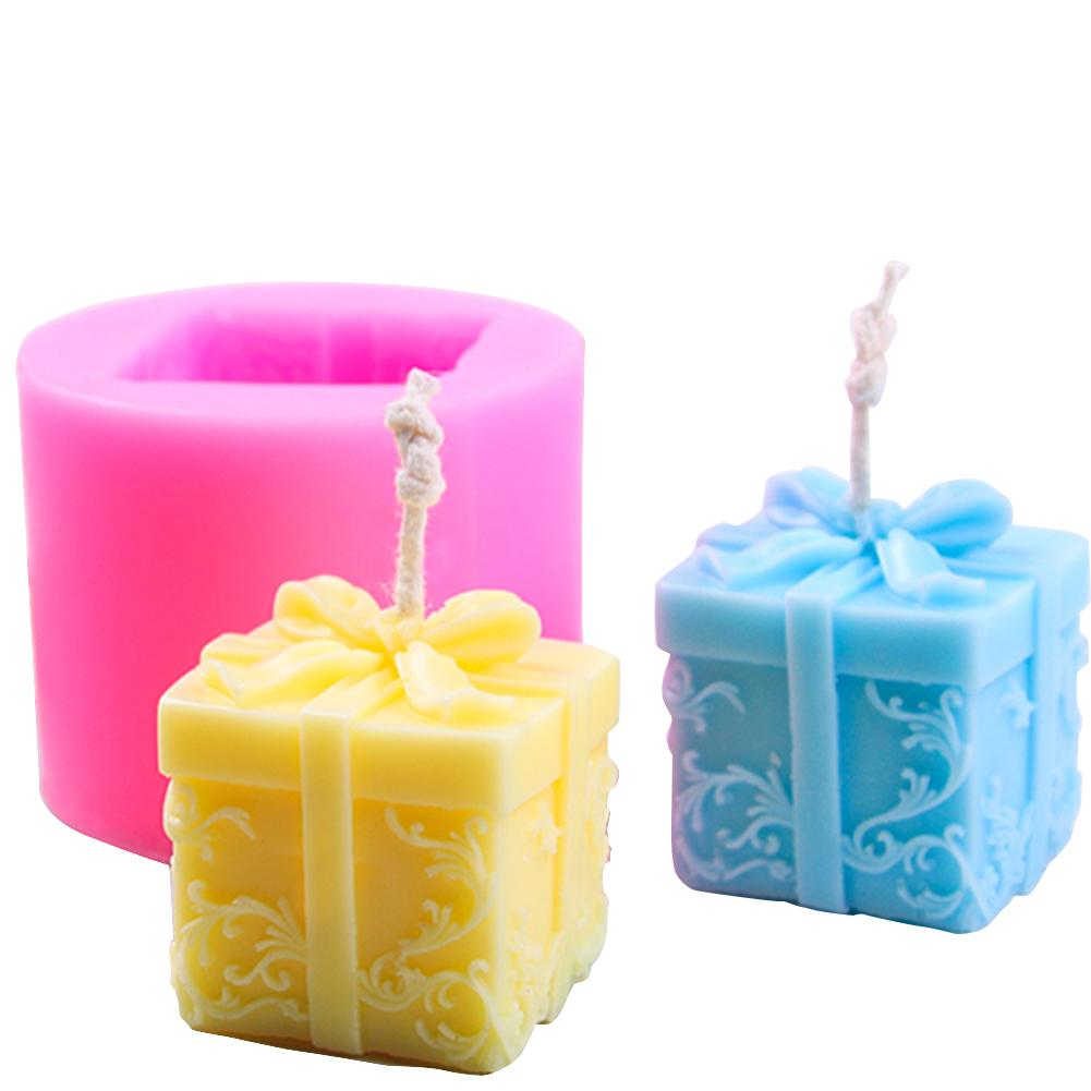 3D Candle Silicone Mold Christmas Gift Box Shape DIY Soap Aroma Candle Mold Craft Tool Cake Chocolate Clay Crafts Art Mold