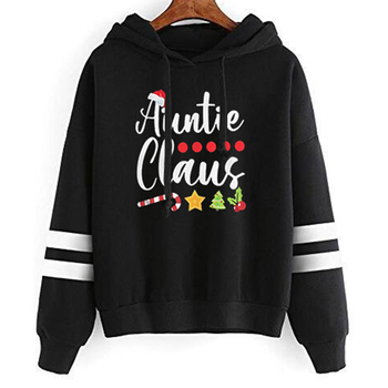цена на Auntie Claus Santa Hat Christmas Womens Hoodies Pullover Graphic Harajuku Oversized Hoodie Clothes Print Girls Sweatshirt Full