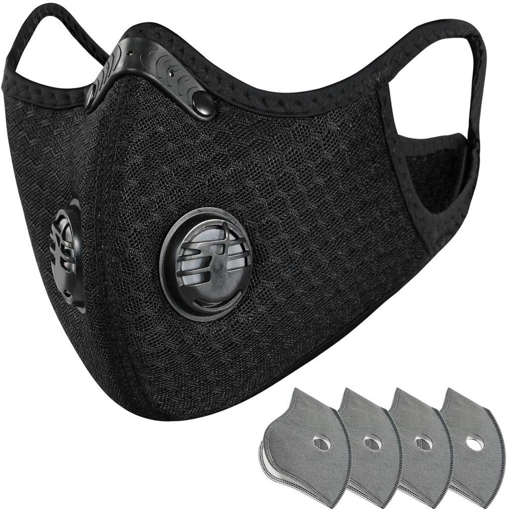 Novo ciclismo máscara protetora de carbono ativo com 4 filtros máscara de poeira respiração anti-poluição correndo máscara protetora