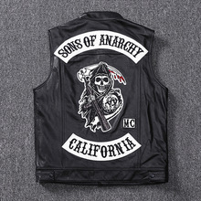 Fashion 100% Cowskin Sons Of Anarchy Leather Rock Punk Vest Cosplay Costume Black Color Motorcycle Biker Sleeveless Jacket