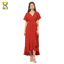 CGYY  New Vintage Long Summer Maxi Dresses For Women 2021 Ladies Solid Red V Neck Beach Sarongs Knit Satin Female Belt Vestidos