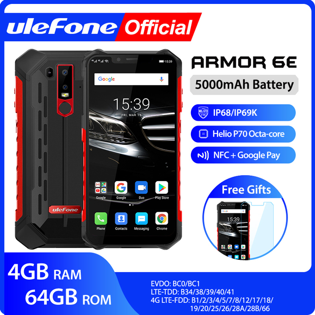 Ulefone Armatura 6E Impermeabile IP68 NFC Rugged Mobile Phone 2.4G/5G WiFi Helio P70 Android 9.0 4GB + 64GB senza fili carica Smartphone