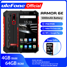 Ulefone Armor 6E Waterproof IP68 NFC Rugged Mobile Phone 2.4G/5G WiFi Helio P70  Android 9.0 4GB+64GB wireless charge Smartphone