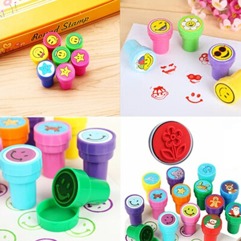 12Pcs/Box Children Toy DIY Scrapbook Photo Album Decor Stamper High Quality Simple Rubber Stamps Cartoon Fruits Kids Seal