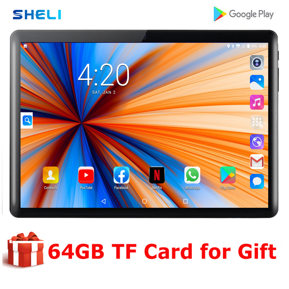 2020 New 10 Inch Tablet 3G WIFI Phone Call Quad Core 32GB ROM Android Tablets PC 3000mAh 1280*800 IPS Dual Cameras Wifi Tablet