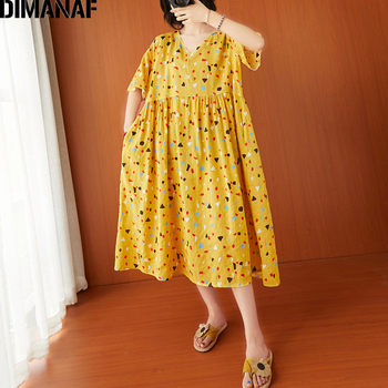 DIMANAF Summer Plus Size Women Print Dress Cotton Female Vestidos Sundress Casual Loose Pleated Lady Elegant Dress Clothing 2020 cuerly ruffle floral print button short dress women summer elegant casual loose dress female sexy daily beach dress vestidos l5