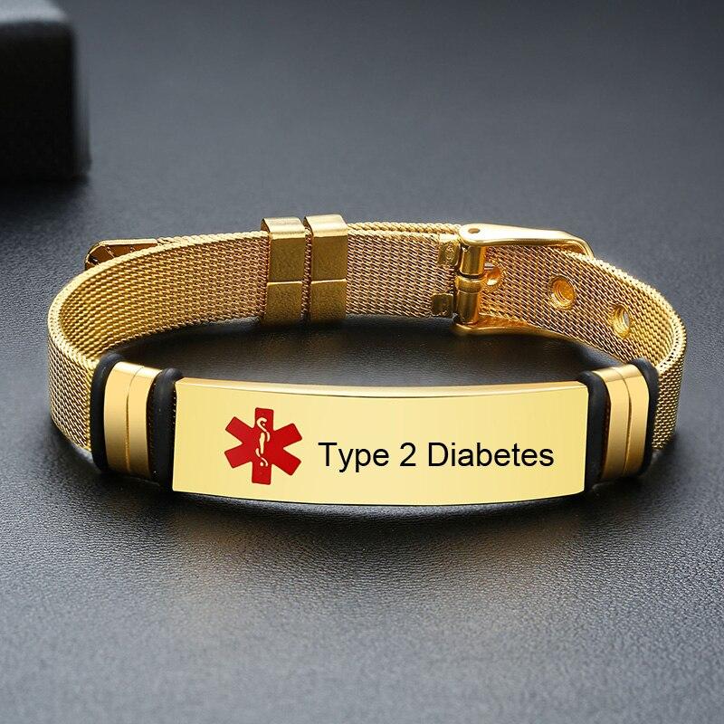Бесплатный гравировальный Медицинский ID сетчатый браслет для мужчин и женщин Регулируемый диабет из нержавеющей стали ледяной браслет