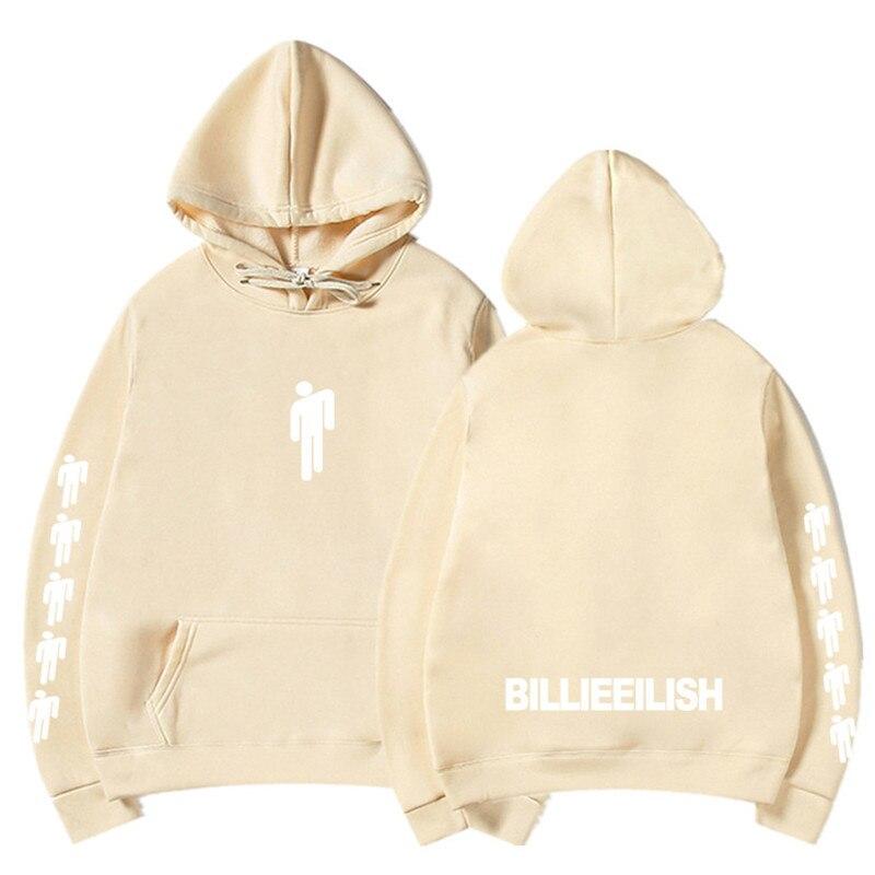Billie Eilish Hoodies Sweatshirts//Sweatpants Men Two Piece Set Hooded Suit Ivory S