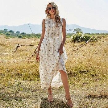 Spring New Sleeveless Print Dress Women Casual O Neck White Sweet Sling Dress For Women 2021 Summer Dress brief sleeveless note bird print belted women s dress