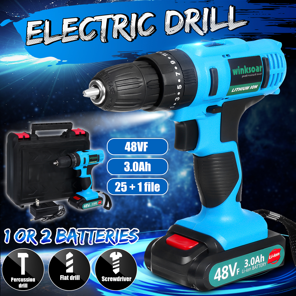 21V 48VF Rechargeable Electric Drill Cordless Screwdriver 25 + 1 File 3 Speed Impact Drill Powers Tool 3.0Ah Lithium Ion Battery