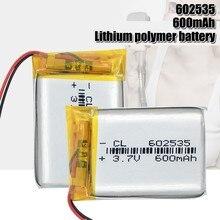Fonte bateria recarregável 602535 600 mah 3.7v do polímero de lítio da bateria de lítio para mp3 mp4 mp5 gps psp meados de fone de ouvido bluetooth