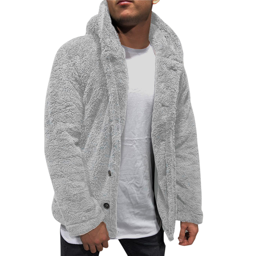 Adisputent 2020 Men Thick Hoodies Solid Color Tops Fluffy Fleece Fur Jacket Hooded Coat Outerwear Long Sleeve Cardigans M-XXXL