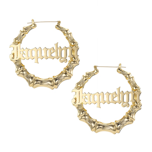 Image 2 - 45mm 90mm Custom Bamboo Hoop Earrings Customize Name Earrings Bamboo Style Personality Earrings With Statement Words Hiphop Sexy