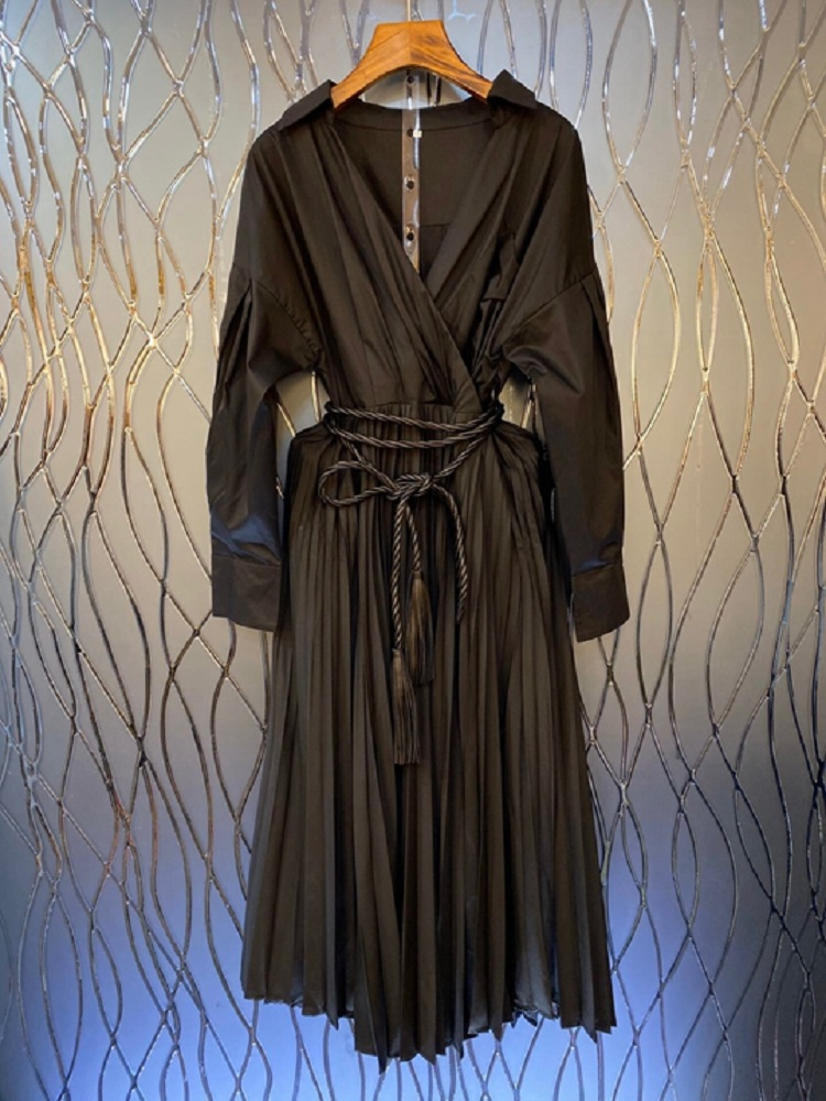 2020 осень зима новейшее женское белое Простое Повседневное Плиссированное Платье рубашка со шнуровкой и v образным вырезом - 2