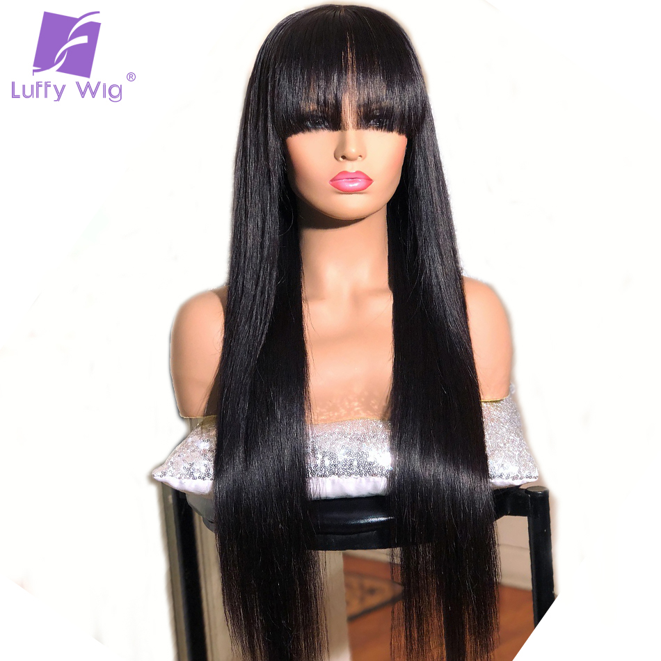 Luffy 13x6 Lace Front Human Hair Wigs With Bangs Indian Remy Long Silky Straight Wig Bleached Knots Pre Plucked For Women