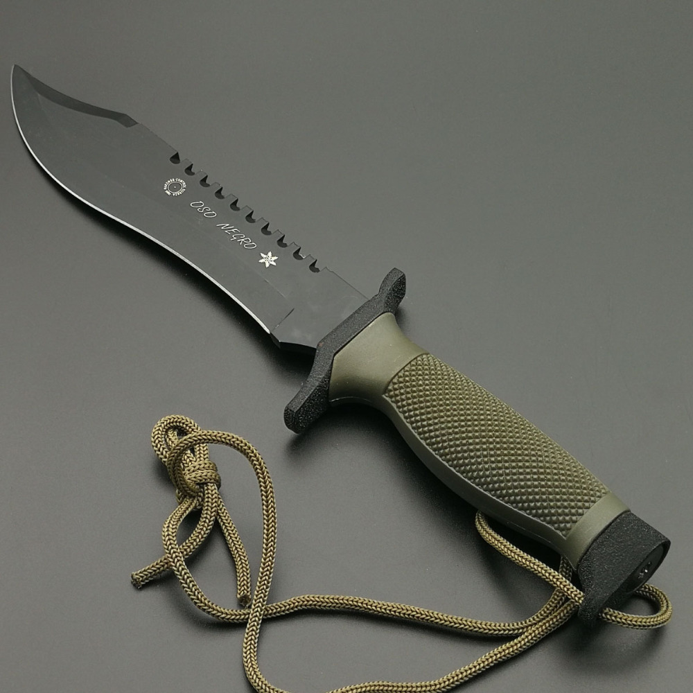 Mengoing Jungle King Military Combat Straight Knife 440C Steel Blade ABS Handle Rescue Utility Outdoor Knives