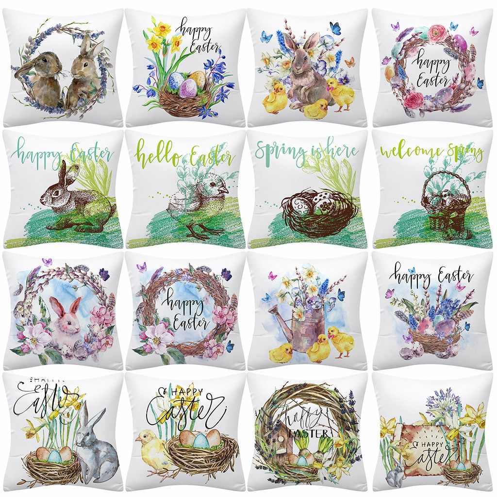 Easter Rabbit Print Pillow Case Polyester Sofa Car Waist Cushion Cover Home Decor Home Decoration 2020