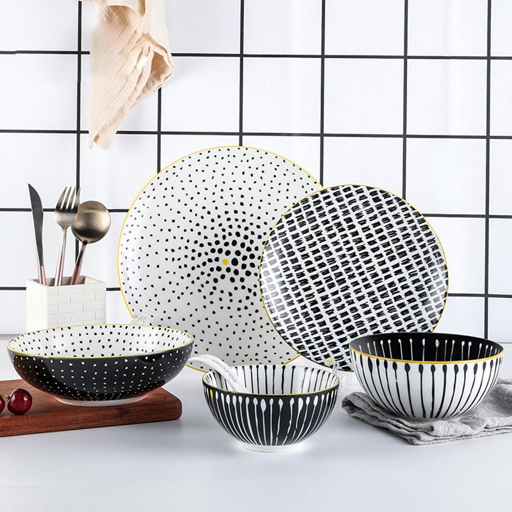 GloryStar 6 pièces/ensemble | Bol en céramique à pois noirs et dorés à bords de couleur, assiette + cuillère, service de table