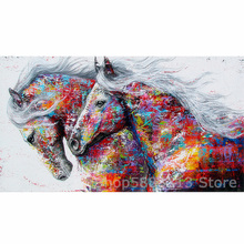 5D Full Round Diamond Painting Horse Kits Handmade Needlework DIY Embroidery Animal Mosaic Rhinestone Picture